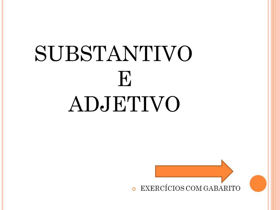 EXERCÍCIOS COM GABARITO SUBSTANTIVO E ADJETIVO