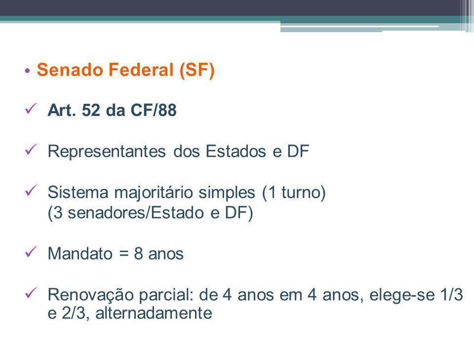 Senado Federal (SF) Art. 52 da CF/88 Representantes dos Estados e DF Sistema majoritário simples (1 turno) (3 senadores/Estado e DF) Mandato = 8 anos