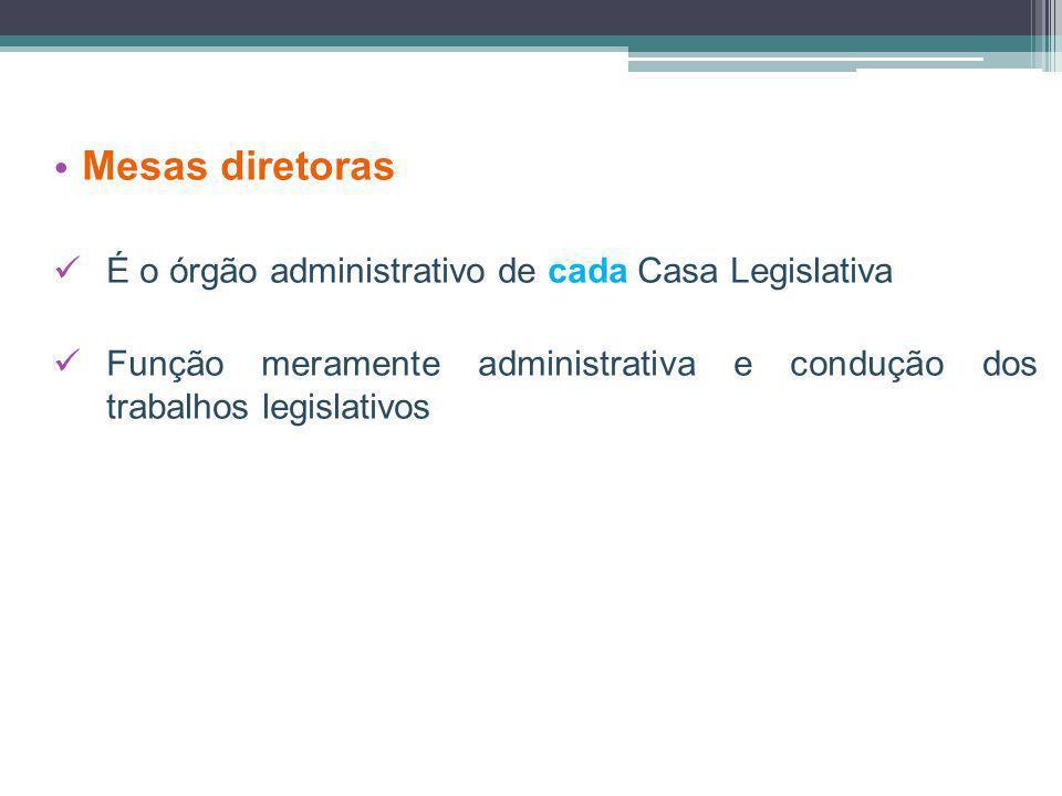 Mesas diretoras É o órgão administrativo de cada Casa Legislativa Função meramente administrativa e condução dos trabalhos legislativos