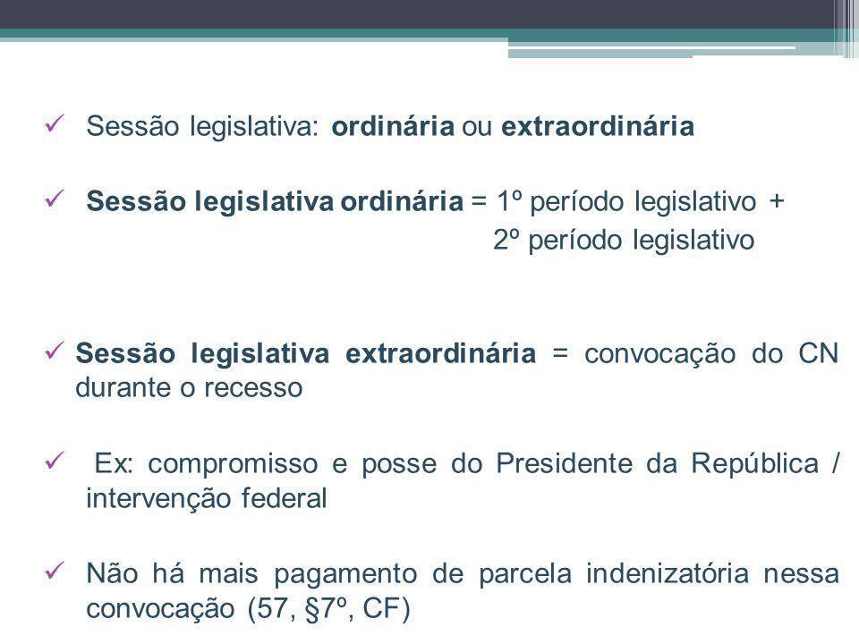 Sessão legislativa: ordinária ou extraordinária Sessão legislativa ordinária = 1º período legislativo + 2º período legislativo Sessão legislativa extr