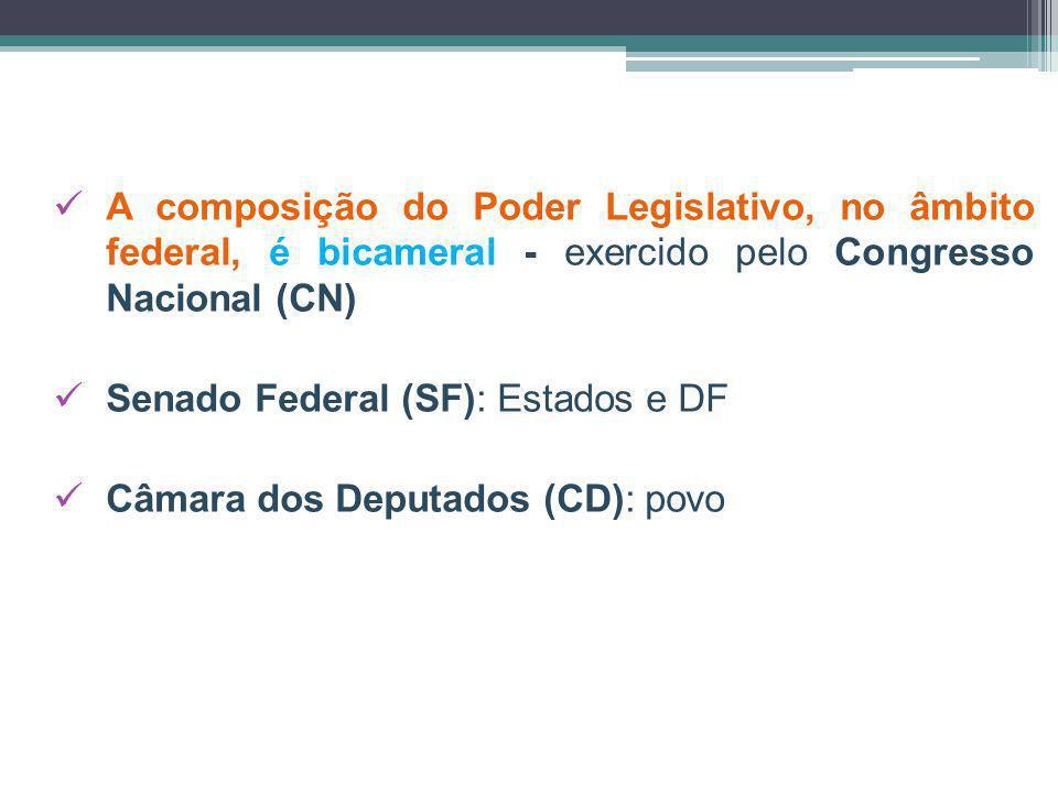 A composição do Poder Legislativo, no âmbito federal, é bicameral - exercido pelo Congresso Nacional (CN) Senado Federal (SF): Estados e DF Câmara dos Deputados (CD): povo