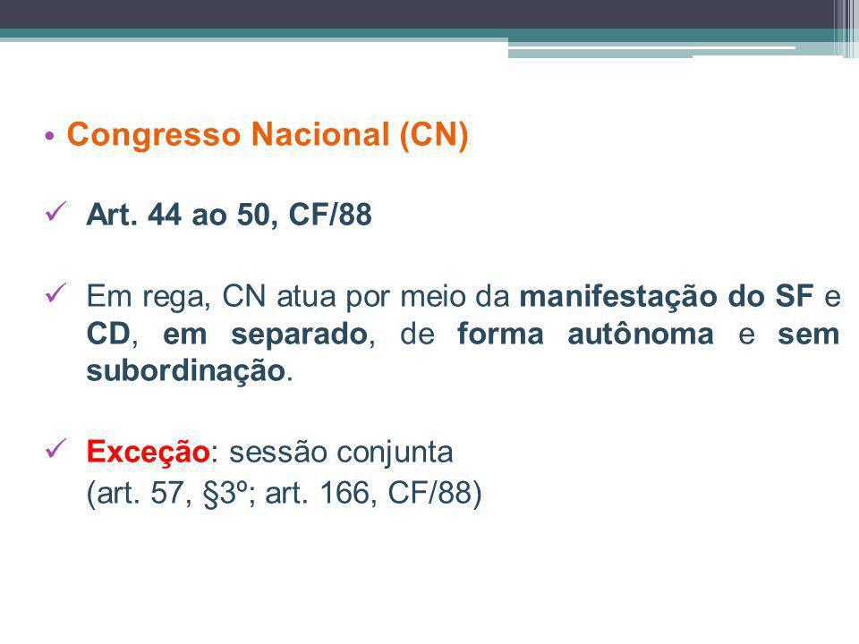 Congresso Nacional (CN) Art. 44 ao 50, CF/88 Em rega, CN atua por meio da manifestação do SF e CD, em separado, de forma autônoma e sem subordinação.