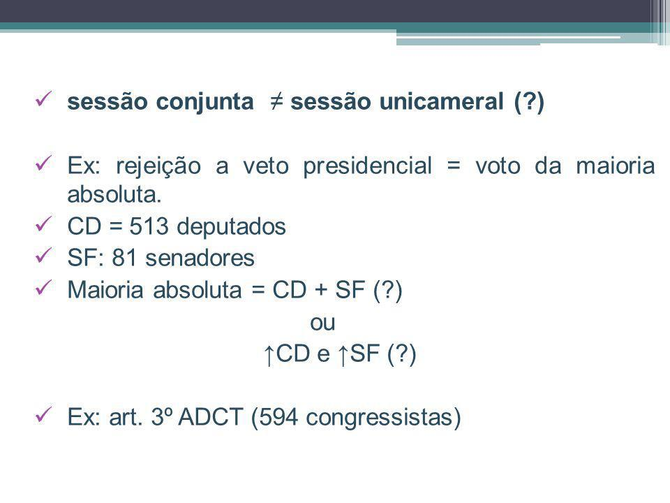 sessão conjunta sessão unicameral (?) Ex: rejeição a veto presidencial = voto da maioria absoluta. CD = 513 deputados SF: 81 senadores Maioria absolut