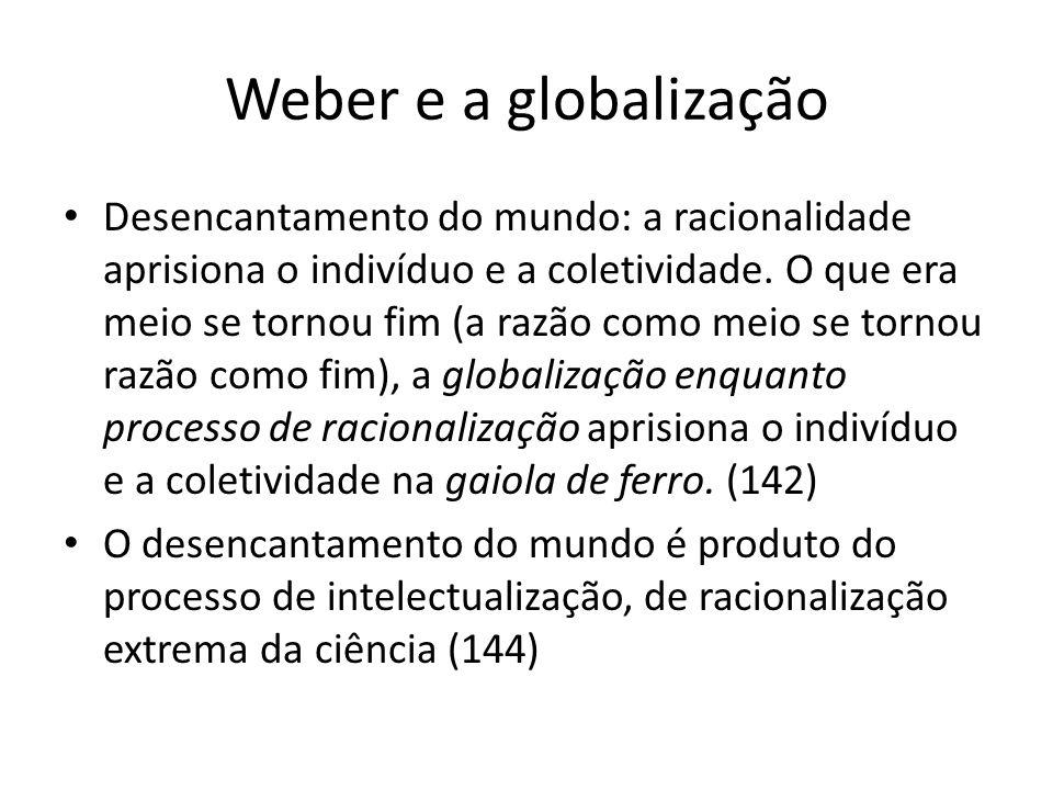 Weber e a globalização O mundo intelectualizado não abre espaço para o sobrenatural.
