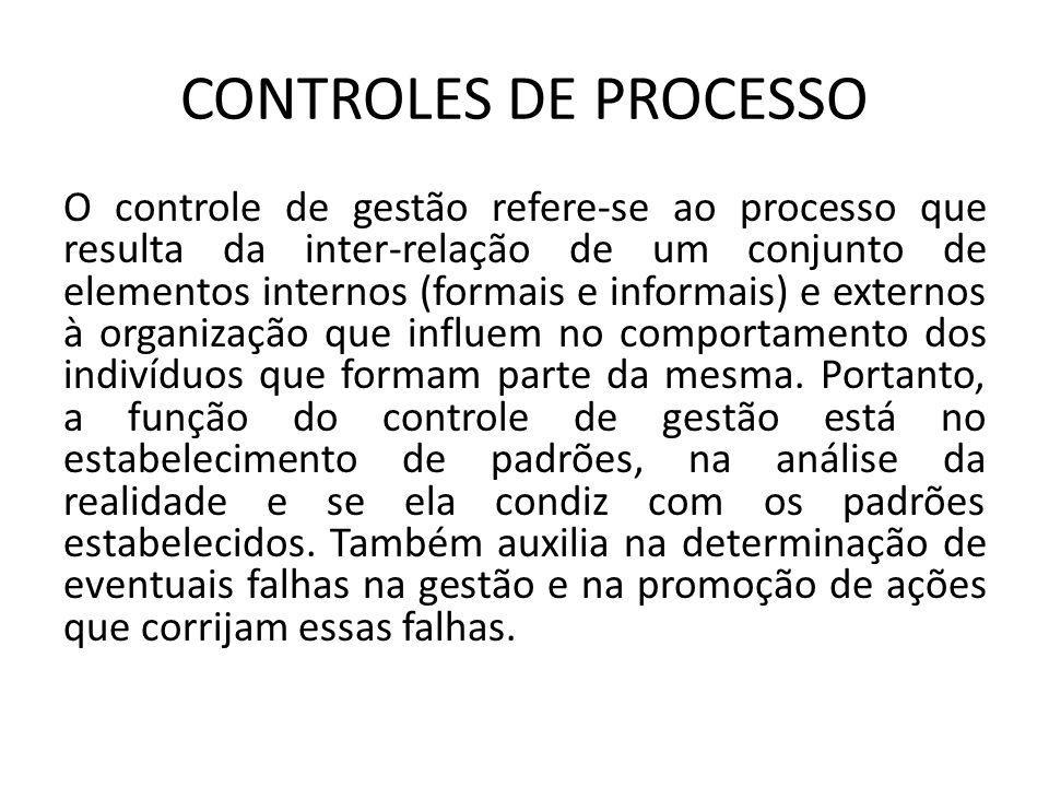 CONTROLES DE PROCESSO O controle de gestão refere-se ao processo que resulta da inter-relação de um conjunto de elementos internos (formais e informai