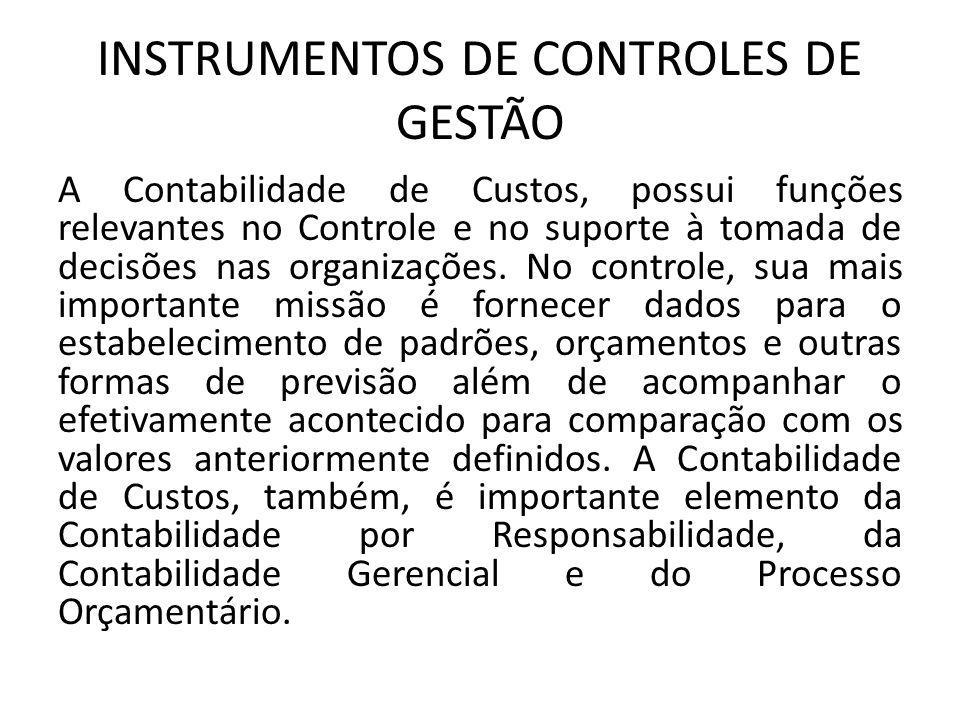 INSTRUMENTOS DE CONTROLES DE GESTÃO A Contabilidade de Custos, possui funções relevantes no Controle e no suporte à tomada de decisões nas organizaçõe