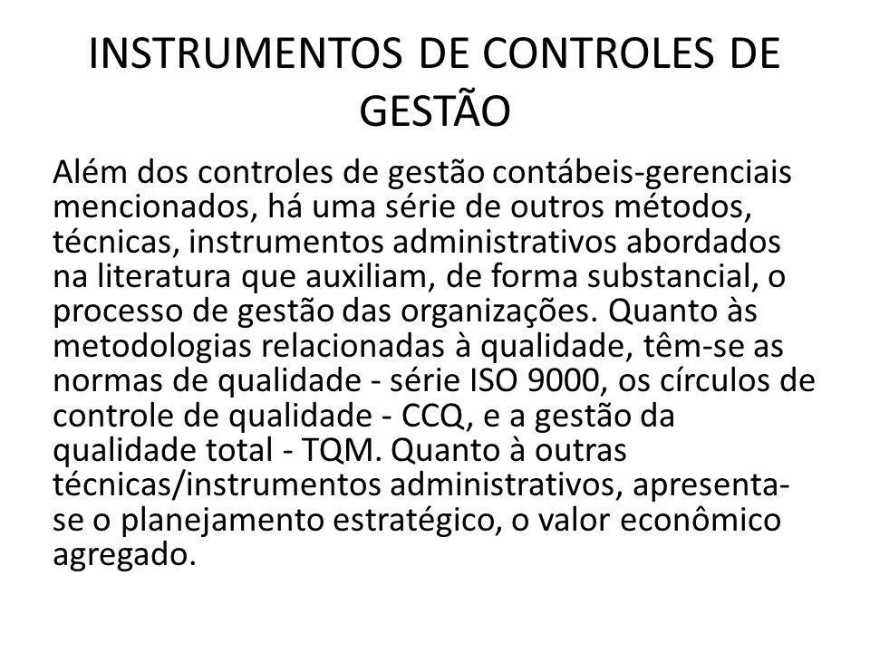 INSTRUMENTOS DE CONTROLES DE GESTÃO Além dos controles de gestão contábeis-gerenciais mencionados, há uma série de outros métodos, técnicas, instrumen