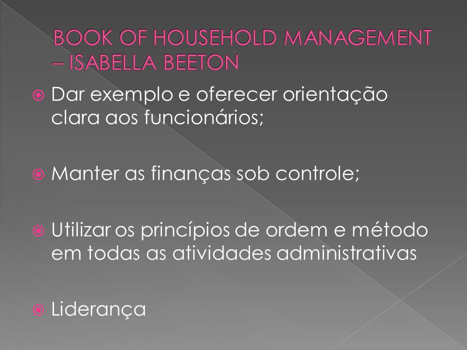 Dar exemplo e oferecer orientação clara aos funcionários; Manter as finanças sob controle; Utilizar os princípios de ordem e método em todas as ativid