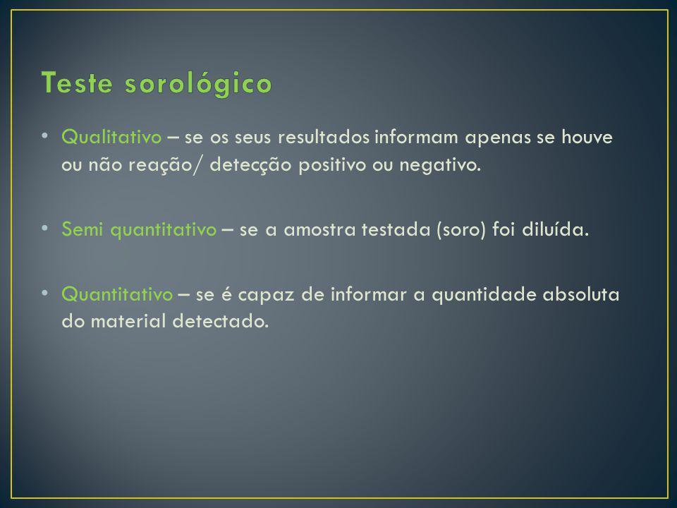 Qualitativo – se os seus resultados informam apenas se houve ou não reação/ detecção positivo ou negativo. Semi quantitativo – se a amostra testada (s