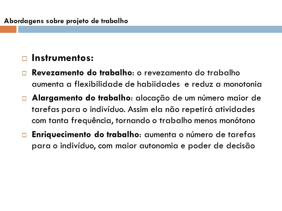 Instrumentos: Revezamento do trabalho: o revezamento do trabalho aumenta a flexibilidade de habiidades e reduz a monotonia Alargamento do trabalho: al