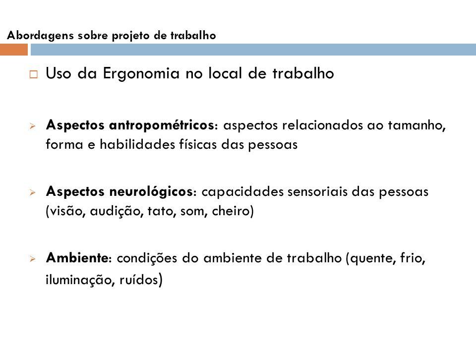 Uso da Ergonomia no local de trabalho Aspectos antropométricos: aspectos relacionados ao tamanho, forma e habilidades físicas das pessoas Aspectos neu