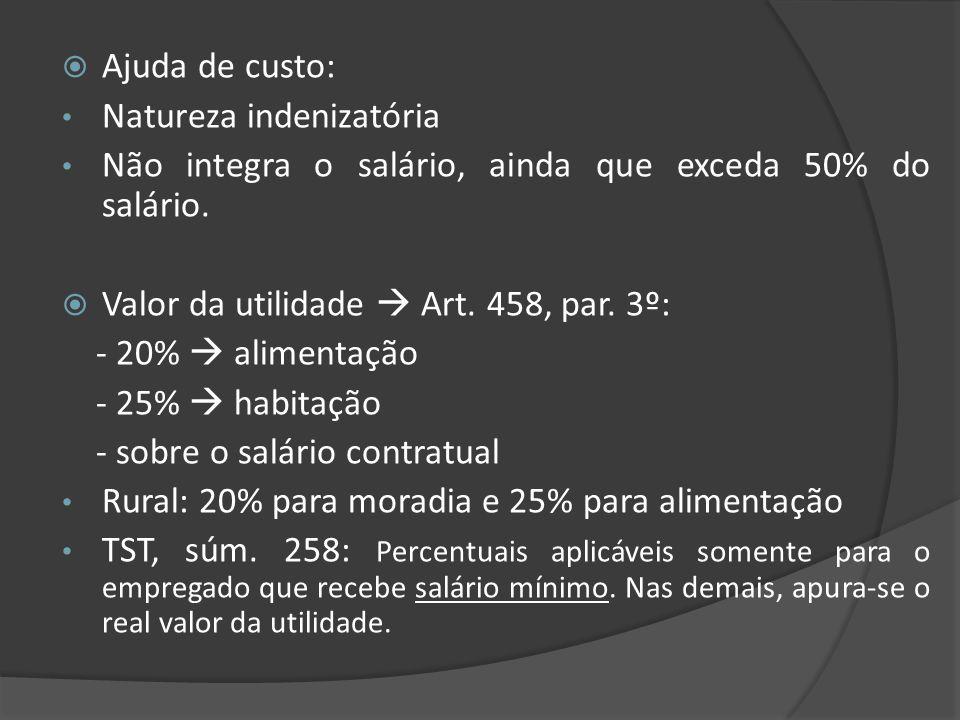 Ajuda de custo: Natureza indenizatória Não integra o salário, ainda que exceda 50% do salário. Valor da utilidade Art. 458, par. 3º: - 20% alimentação