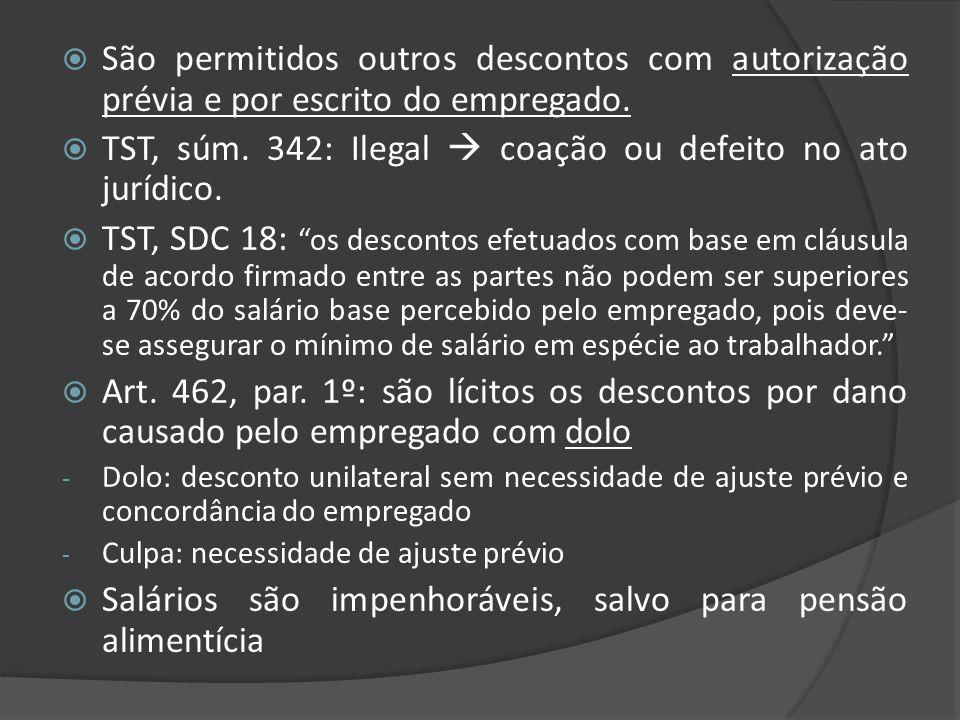 São permitidos outros descontos com autorização prévia e por escrito do empregado. TST, súm. 342: Ilegal coação ou defeito no ato jurídico. TST, SDC 1