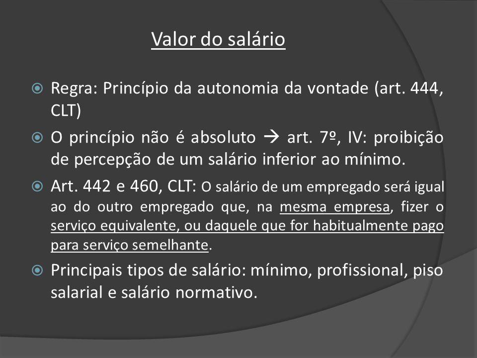 Valor do salário Regra: Princípio da autonomia da vontade (art. 444, CLT) O princípio não é absoluto art. 7º, IV: proibição de percepção de um salário