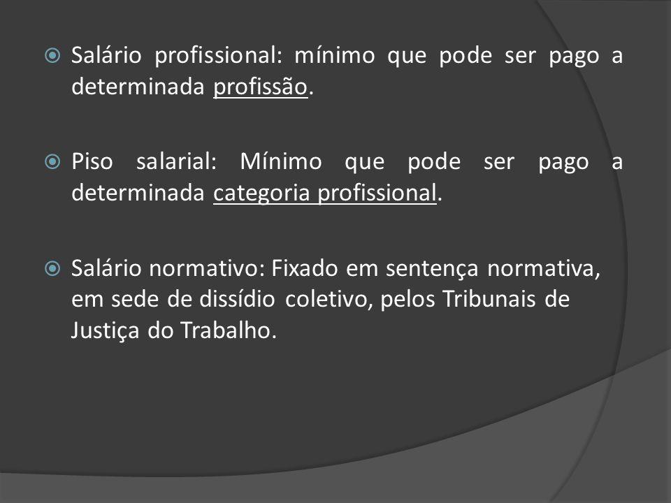 Salário profissional: mínimo que pode ser pago a determinada profissão. Piso salarial: Mínimo que pode ser pago a determinada categoria profissional.