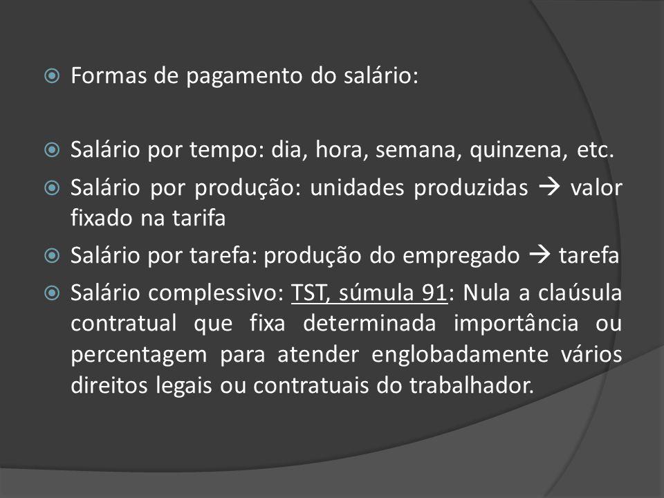 Formas de pagamento do salário: Salário por tempo: dia, hora, semana, quinzena, etc. Salário por produção: unidades produzidas valor fixado na tarifa