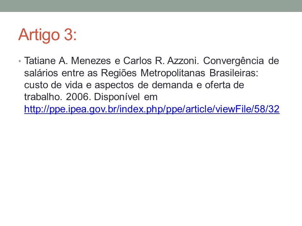 Artigo 3: Tatiane A. Menezes e Carlos R. Azzoni. Convergência de salários entre as Regiões Metropolitanas Brasileiras: custo de vida e aspectos de dem