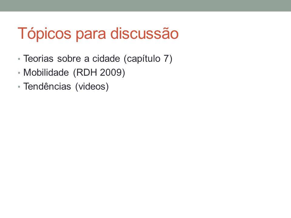 Tópicos para discussão Teorias sobre a cidade (capítulo 7) Mobilidade (RDH 2009) Tendências (videos)