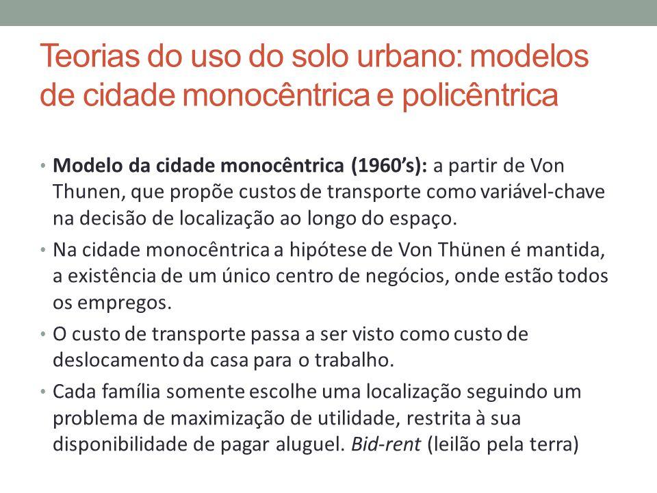 Teorias do uso do solo urbano: modelos de cidade monocêntrica e policêntrica Modelo da cidade monocêntrica (1960s): a partir de Von Thunen, que propõe
