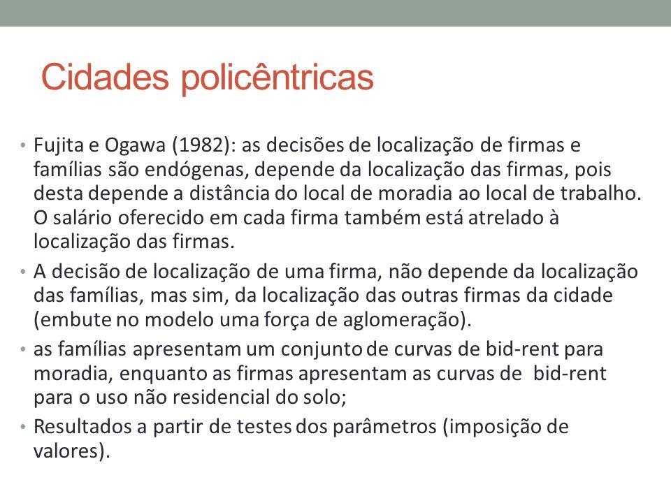 Cidades policêntricas Fujita e Ogawa (1982): as decisões de localização de firmas e famílias são endógenas, depende da localização das firmas, pois de