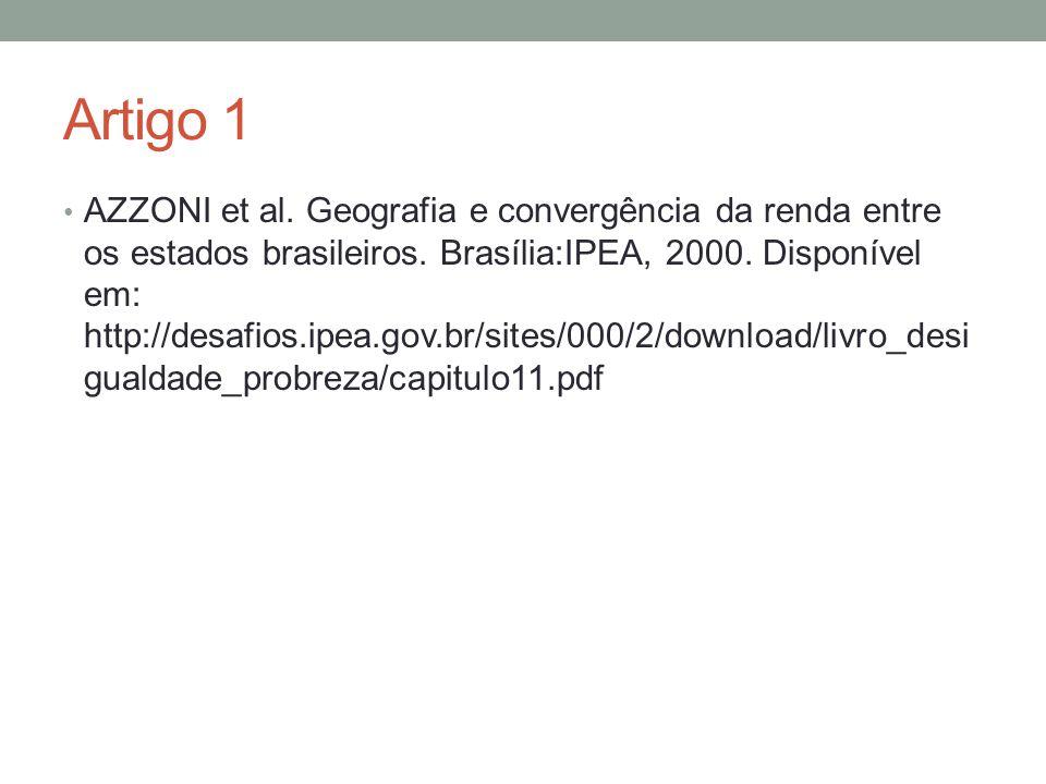 Artigo 1 AZZONI et al. Geografia e convergência da renda entre os estados brasileiros. Brasília:IPEA, 2000. Disponível em: http://desafios.ipea.gov.br