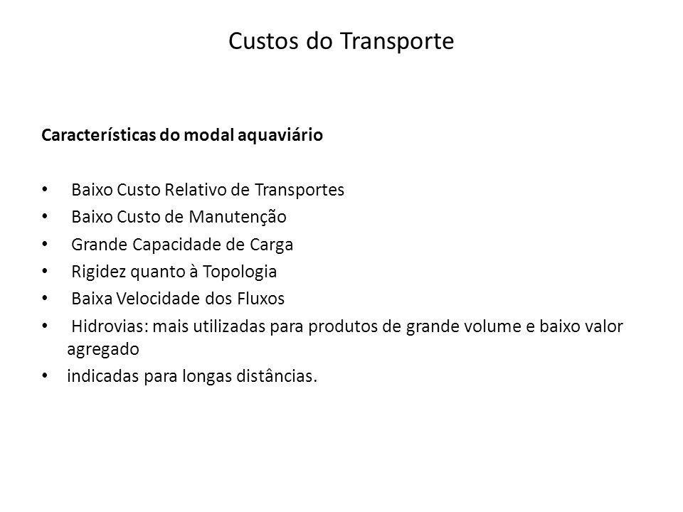 Custos do Transporte Características do modal aquaviário Baixo Custo Relativo de Transportes Baixo Custo de Manutenção Grande Capacidade de Carga Rigi