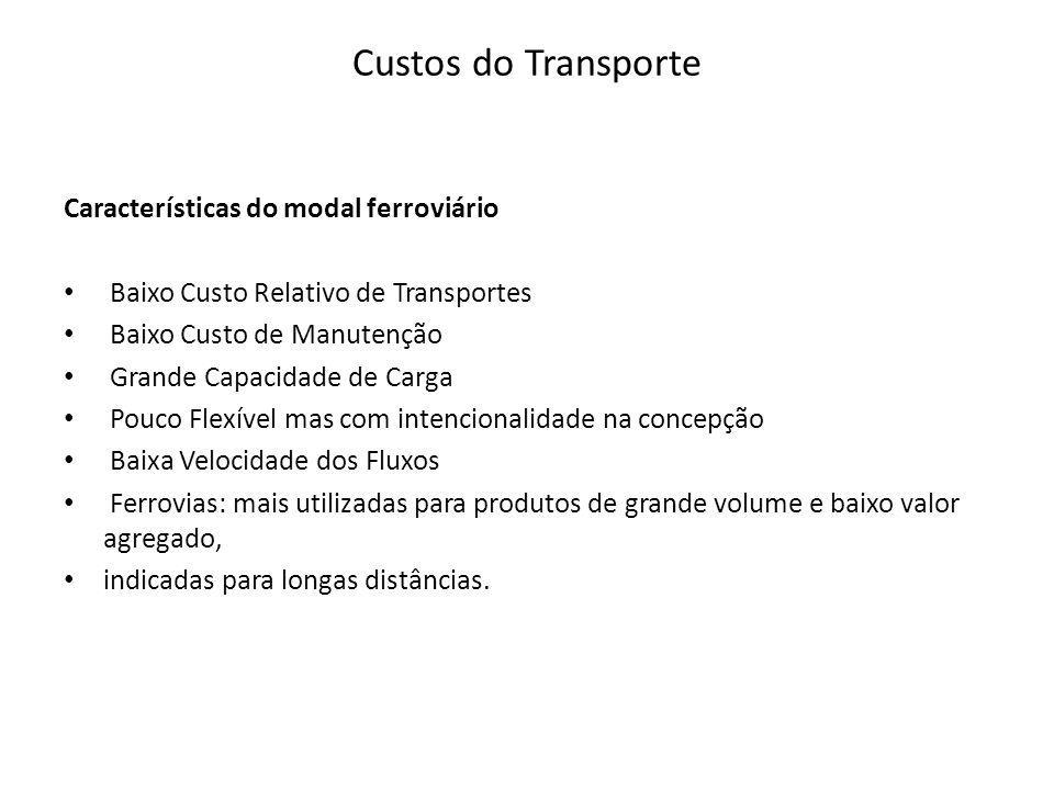 Custos do Transporte Características do modal ferroviário Baixo Custo Relativo de Transportes Baixo Custo de Manutenção Grande Capacidade de Carga Pou