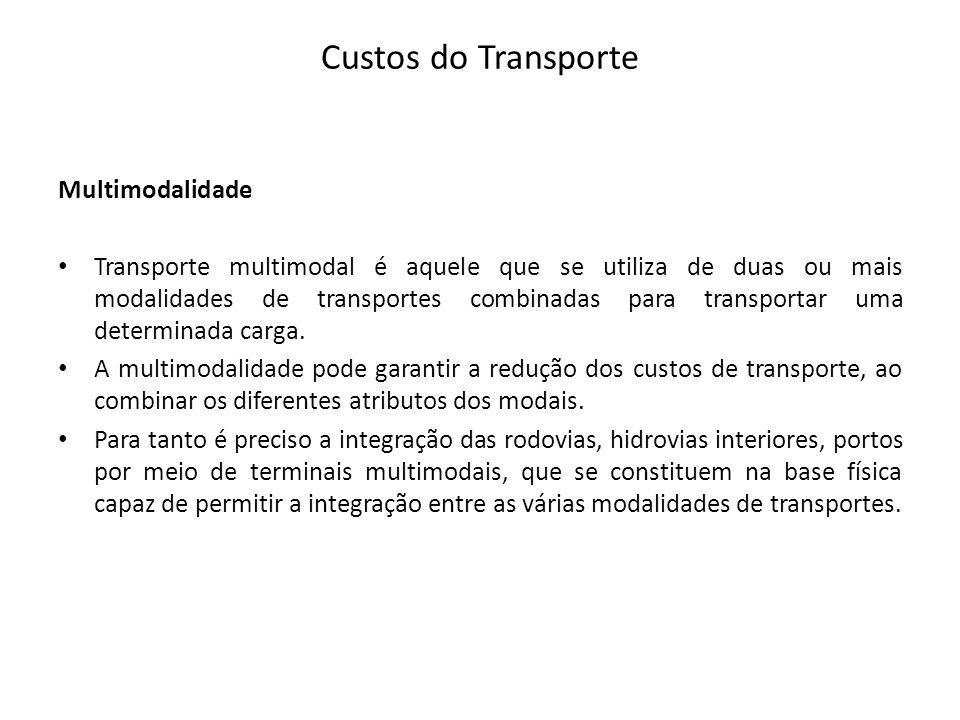 Custos do Transporte Multimodalidade Transporte multimodal é aquele que se utiliza de duas ou mais modalidades de transportes combinadas para transpor
