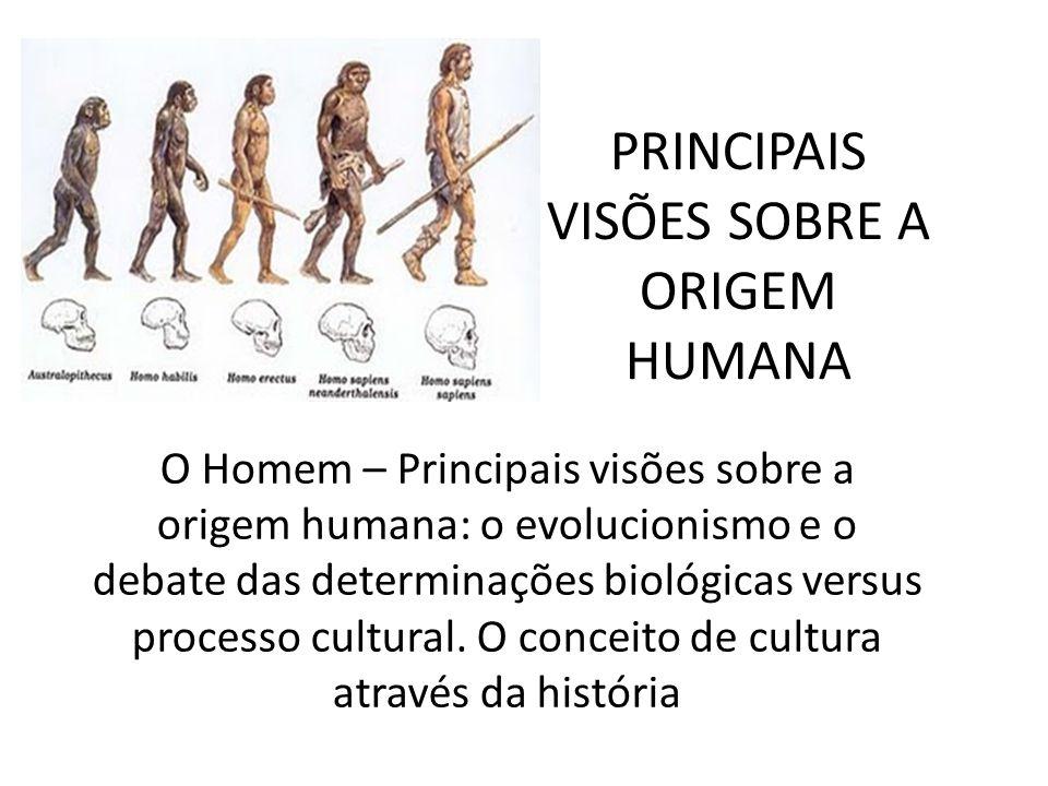 PRINCIPAIS VISÕES SOBRE A ORIGEM HUMANA O Homem – Principais visões sobre a origem humana: o evolucionismo e o debate das determinações biológicas ver