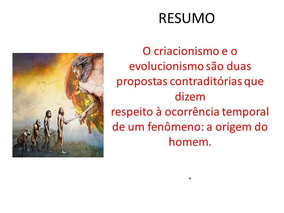RESUMO O criacionismo e o evolucionismo são duas propostas contraditórias que dizem respeito à ocorrência temporal de um fenômeno: a origem do homem..