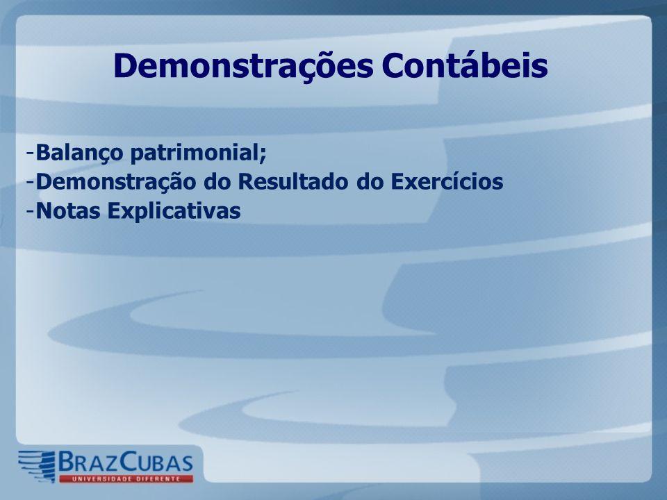 Demonstrações Contábeis - Balanço patrimonial; - Demonstração do Resultado do Exercícios - Notas Explicativas