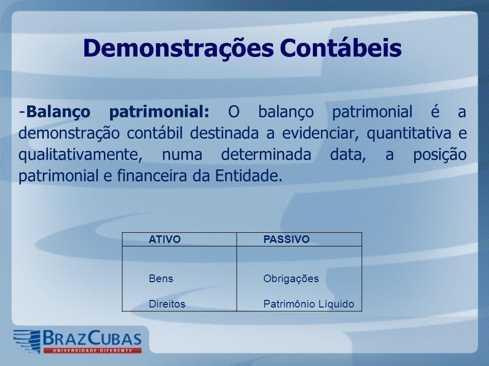 Demonstrações Contábeis - Balanço patrimonial: O balanço patrimonial é a demonstração contábil destinada a evidenciar, quantitativa e qualitativamente