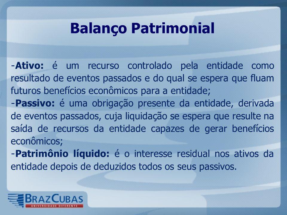 Balanço Patrimonial - Ativo: é um recurso controlado pela entidade como resultado de eventos passados e do qual se espera que fluam futuros benefícios