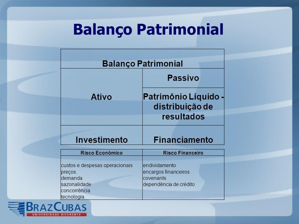 Balanço Patrimonial Ativo Passivo Patrimônio Líquido - distribuição de resultados InvestimentoFinanciamento Risco EconômicoRisco Financeiro custos e d