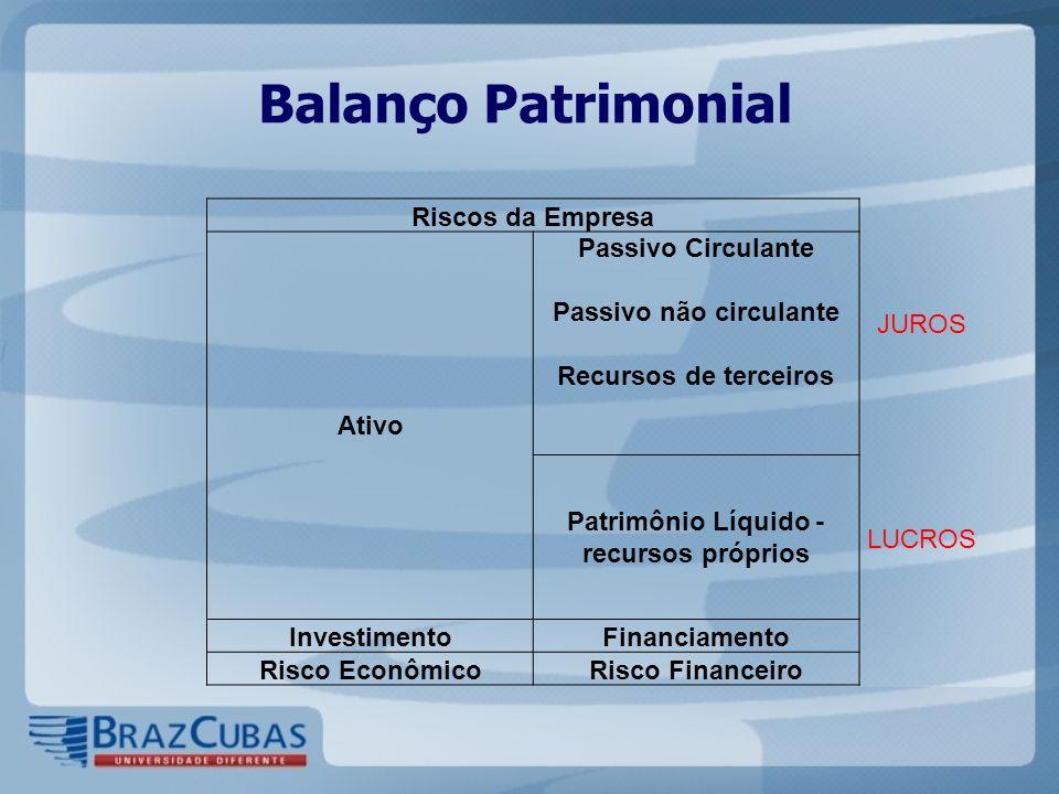 Balanço Patrimonial Riscos da Empresa Ativo Passivo Circulante Passivo não circulante Recursos de terceiros JUROS Patrimônio Líquido - recursos própri