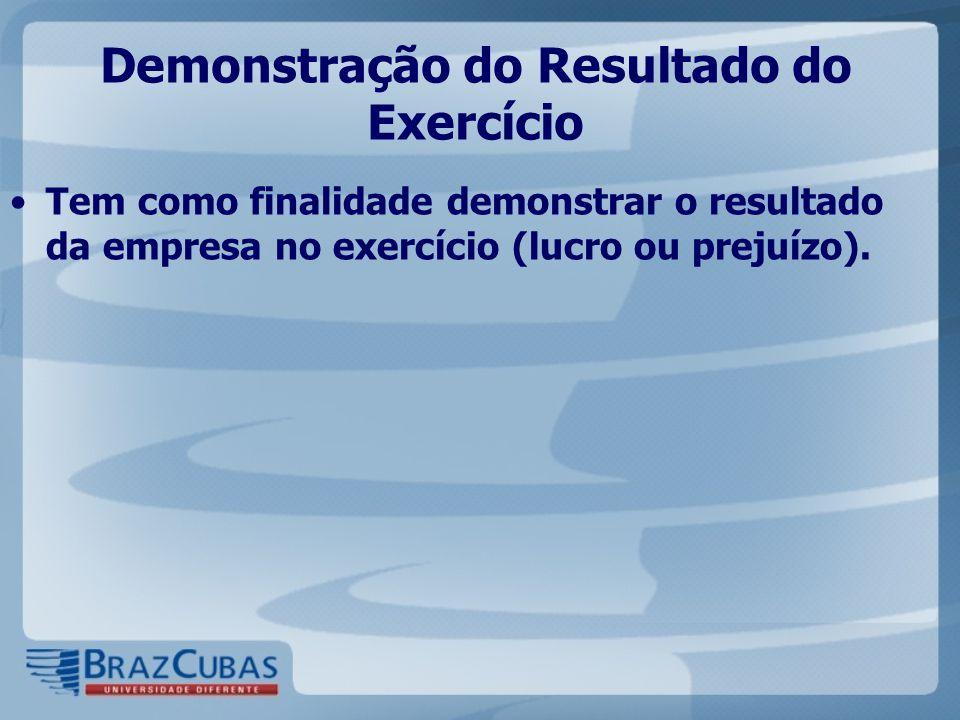 Demonstração do Resultado do Exercício Tem como finalidade demonstrar o resultado da empresa no exercício (lucro ou prejuízo).