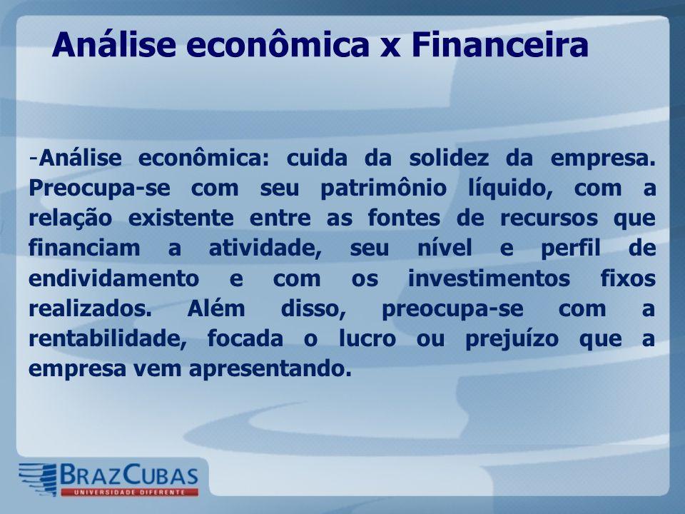 Análise econômica x Financeira - Análise econômica: cuida da solidez da empresa. Preocupa-se com seu patrimônio líquido, com a relação existente entre