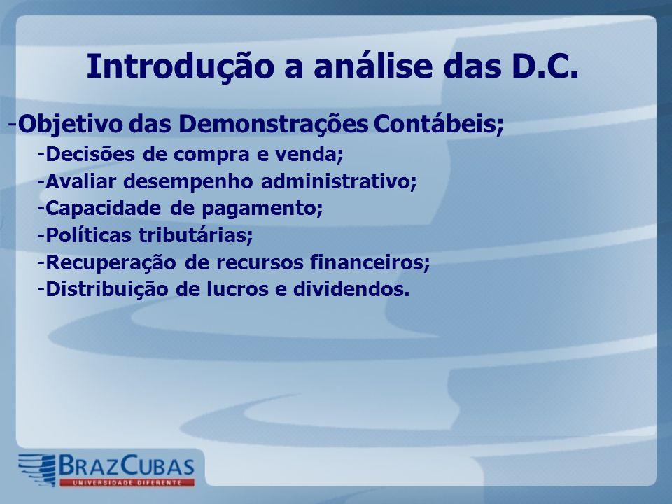 Introdução a análise das D.C. - Objetivo das Demonstrações Contábeis; - Decisões de compra e venda; - Avaliar desempenho administrativo; - Capacidade