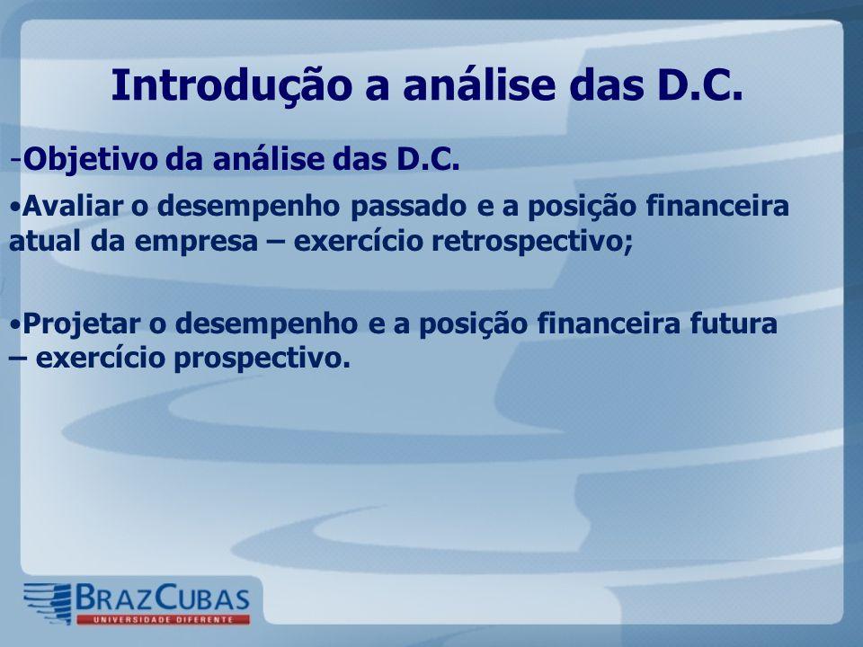 Introdução a análise das D.C. - Objetivo da análise das D.C. Avaliar o desempenho passado e a posição financeira atual da empresa – exercício retrospe