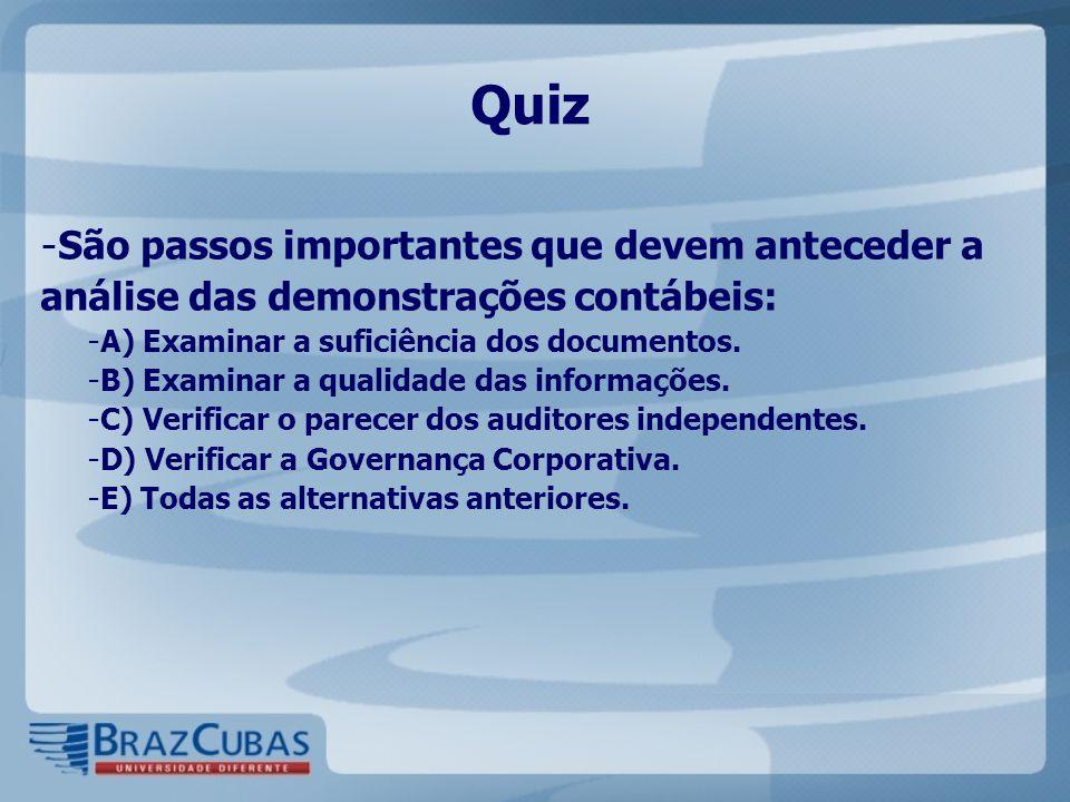Quiz - São passos importantes que devem anteceder a análise das demonstrações contábeis: - A) Examinar a suficiência dos documentos. - B) Examinar a q