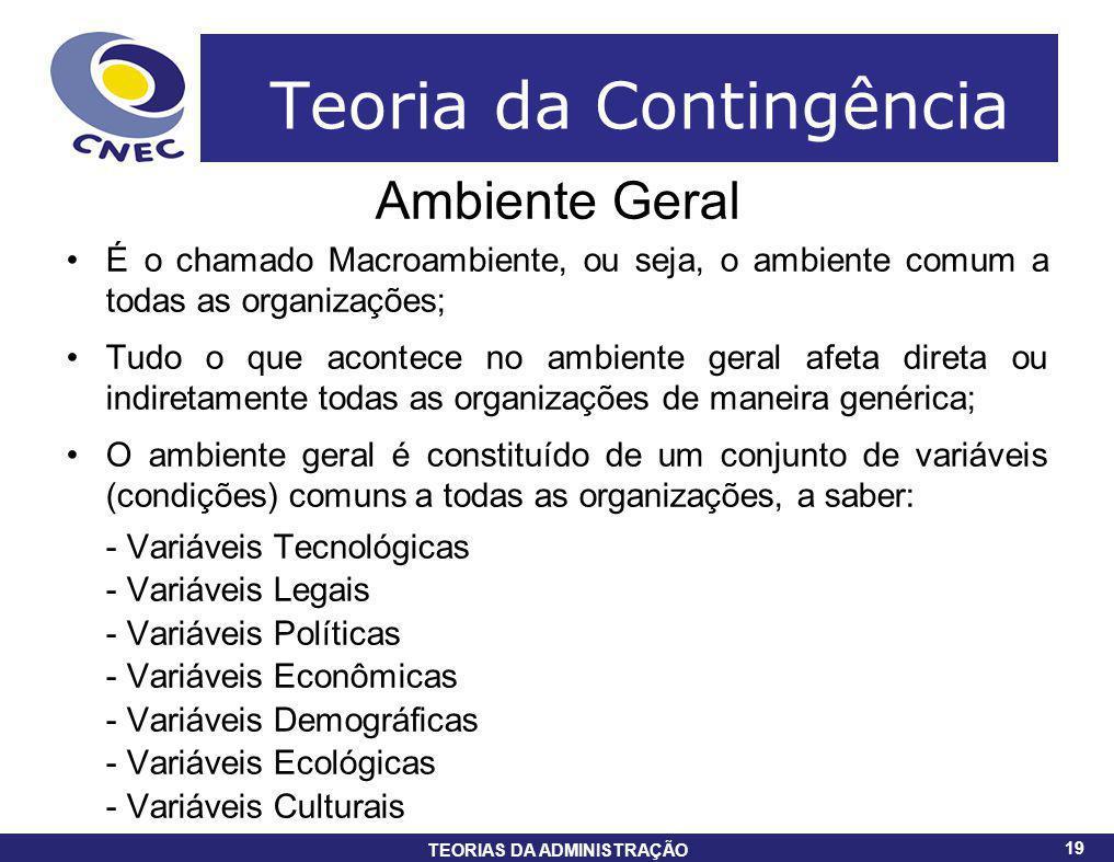19 TEORIAS DA ADMINISTRAÇÃO 19 Teoria da Contingência Ambiente Geral É o chamado Macroambiente, ou seja, o ambiente comum a todas as organizações; Tud
