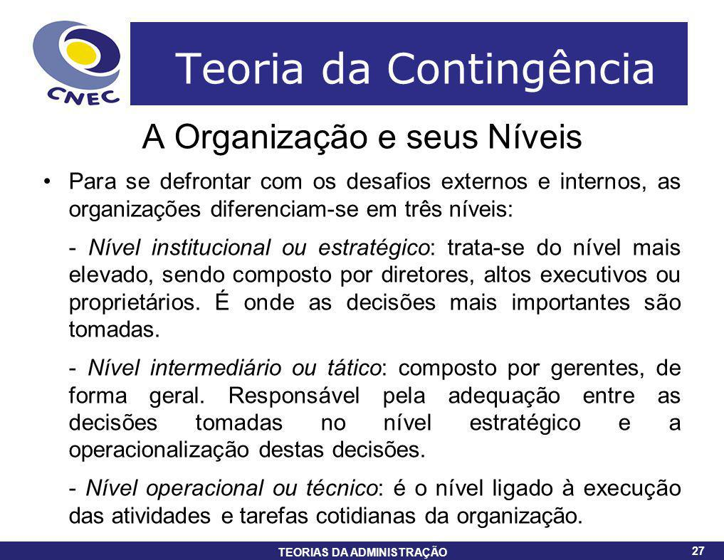 27 TEORIAS DA ADMINISTRAÇÃO 27 Teoria da Contingência A Organização e seus Níveis Para se defrontar com os desafios externos e internos, as organizaçõ