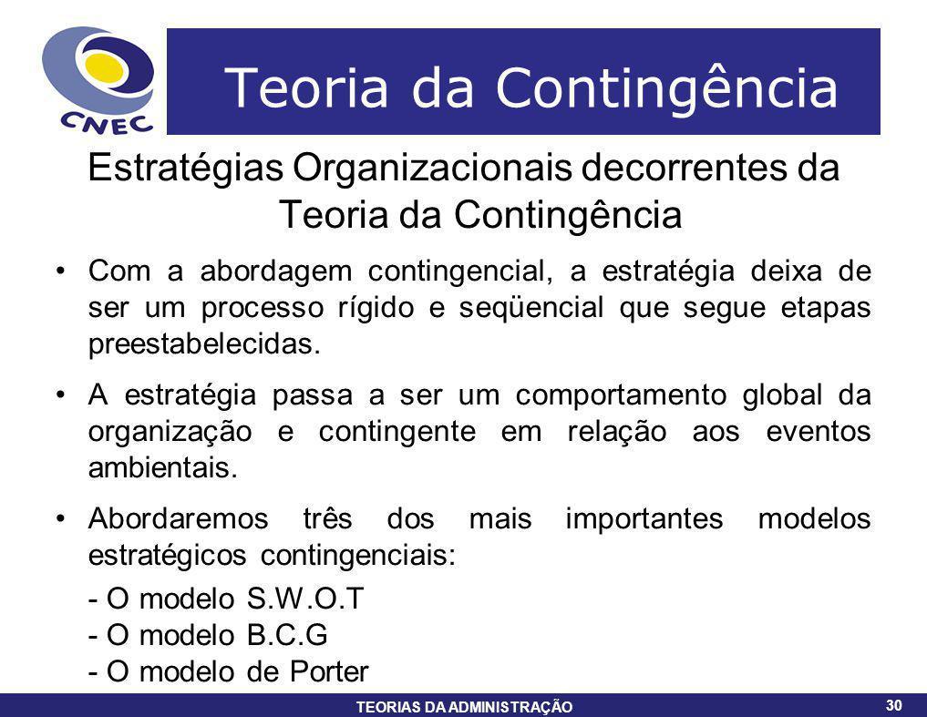 30 TEORIAS DA ADMINISTRAÇÃO 30 Teoria da Contingência Estratégias Organizacionais decorrentes da Teoria da Contingência Com a abordagem contingencial,