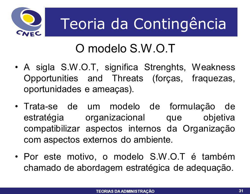 31 TEORIAS DA ADMINISTRAÇÃO 31 Teoria da Contingência O modelo S.W.O.T A sigla S.W.O.T, significa Strenghts, Weakness Opportunities and Threats (força