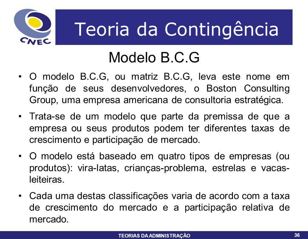 36 TEORIAS DA ADMINISTRAÇÃO 36 Teoria da Contingência Modelo B.C.G O modelo B.C.G, ou matriz B.C.G, leva este nome em função de seus desenvolvedores,