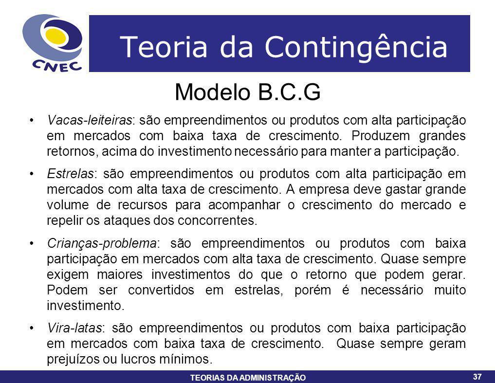 37 TEORIAS DA ADMINISTRAÇÃO 37 Teoria da Contingência Modelo B.C.G Vacas-leiteiras: são empreendimentos ou produtos com alta participação em mercados