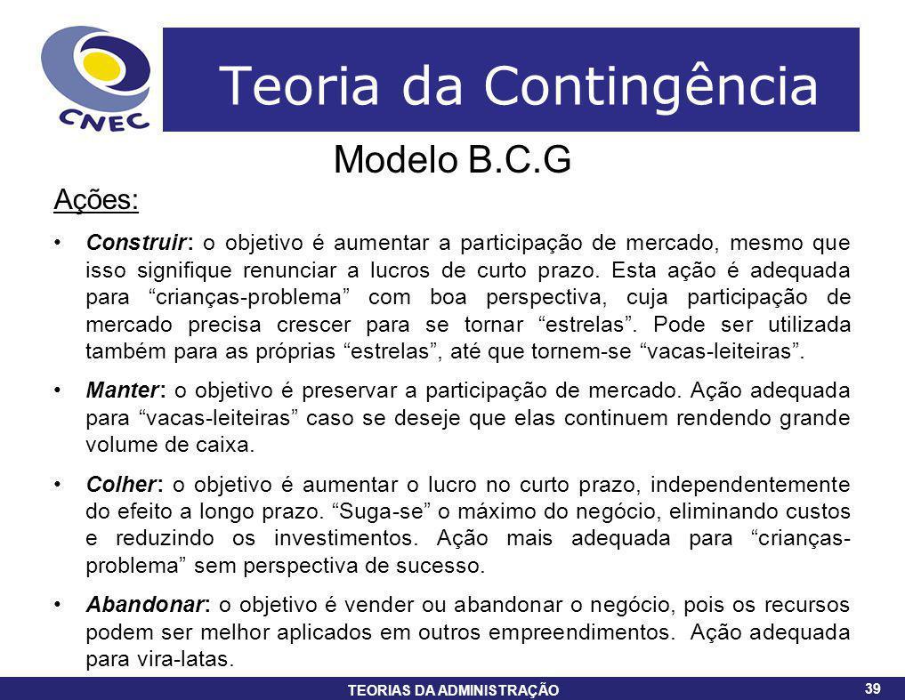 39 TEORIAS DA ADMINISTRAÇÃO 39 Teoria da Contingência Modelo B.C.G Ações: Construir: o objetivo é aumentar a participação de mercado, mesmo que isso s