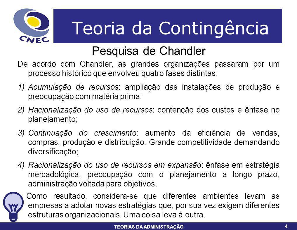 4 TEORIAS DA ADMINISTRAÇÃO 4 Teoria da Contingência Pesquisa de Chandler De acordo com Chandler, as grandes organizações passaram por um processo hist