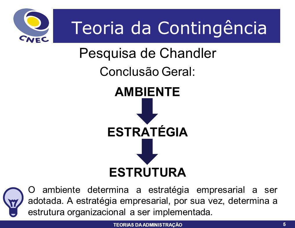 5 TEORIAS DA ADMINISTRAÇÃO 5 Teoria da Contingência Pesquisa de Chandler Conclusão Geral: AMBIENTE ESTRATÉGIA ESTRUTURA O ambiente determina a estraté