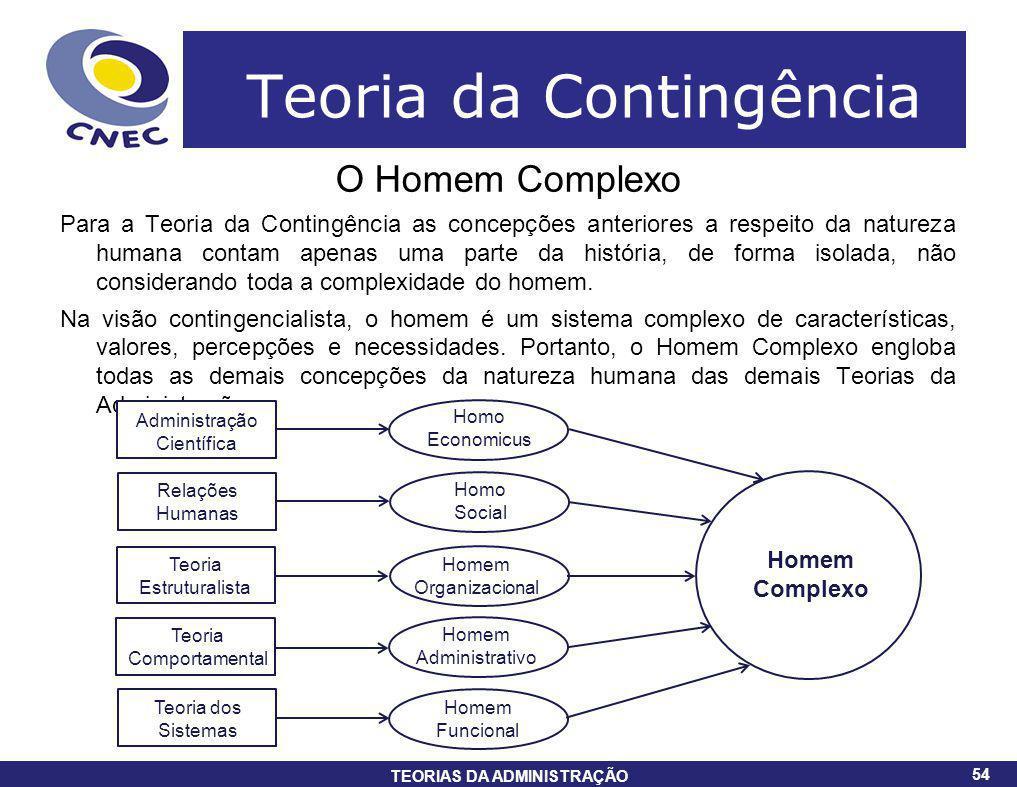 54 TEORIAS DA ADMINISTRAÇÃO 54 Teoria da Contingência O Homem Complexo Para a Teoria da Contingência as concepções anteriores a respeito da natureza h